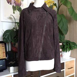 Lush Faux Suede Moto Brown Jacket L